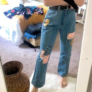 Super High Waisted Painted Vintage Forenza Jeans